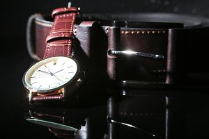 Men's accessories with brown leather