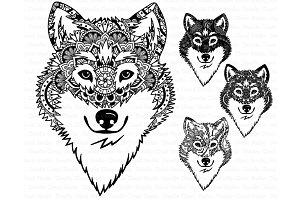 Wolf SVG, Wolf Head Mandala SVG,