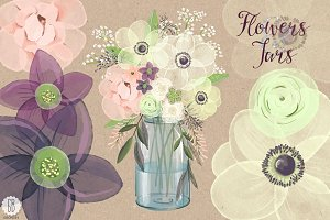 Watercolor anemones baby breath jar