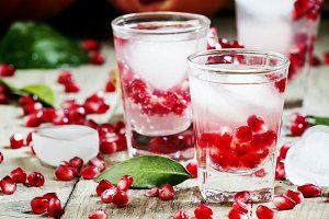Fresh sparkling water with ice and p