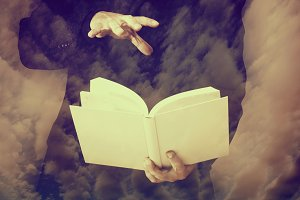 Open blank book and magic