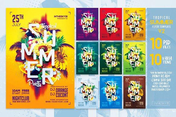 tropical summer v2 flyer template flyer templates creative market
