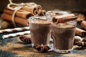 Hot liquid chocolate with warming wi