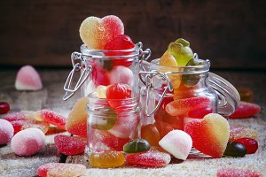 Bright multi-colored jelly candies i