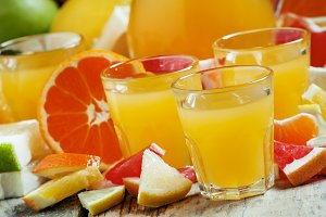 Citrus juice from oranges, tangerine