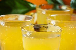 Orange soda on a background of fresh