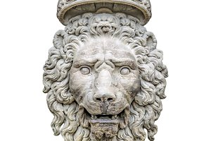 Lion With Crown Sculpture Isolated P