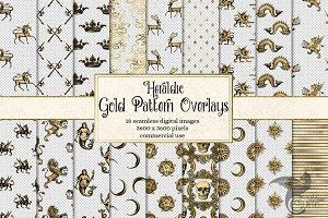 Gold Heraldic Pattern Overlays