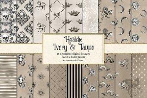 Heraldic Ivory & Taupe Digital Paper