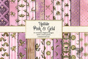 Heraldic Pink and Gold Digital Paper