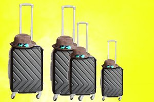 a lot of suitcases on wheels. closed