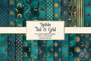 Heraldic Teal and Gold Digital Paper