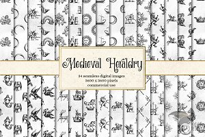 Medieval Heraldry Digital Paper