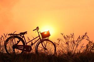 beautiful landscape image with Bicyc