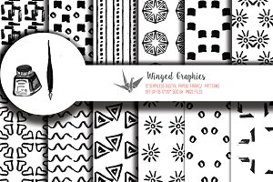 12 Seamless hand drawn ink patterns