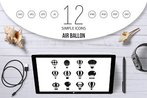Air ballon icon set, simple style
