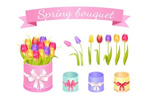 Spring Bouquet Set of Flowers Vector