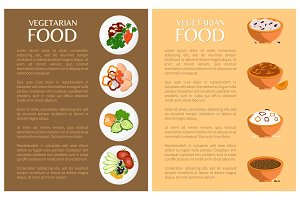 Vegetarian Food, Vector Banner