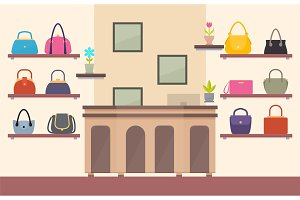Handbags Store, Color Card, Vector