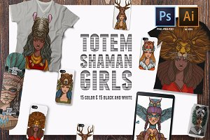 Girls-shamans totem animals