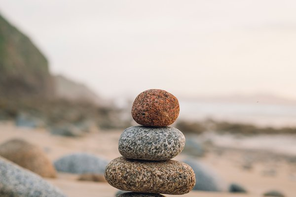 Four small rocks in balance