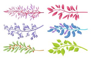 Branches with Colorful Leaves and