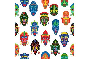 Tribal mask vector African face