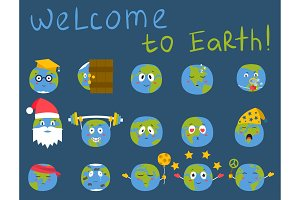 Cartoon globe emotion planet icons