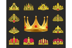 Shiny Luxurious Crowns of Gold with