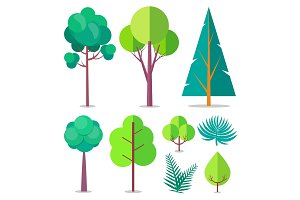 Template with Trees and Bushes of