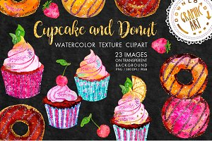 Cupcake and Donut Clip Art