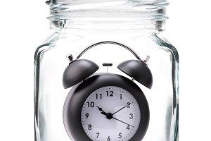 Black Alarm clock in jar