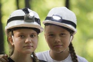 Portrait of cute teen sisters
