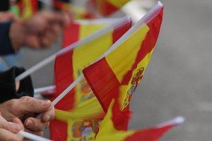 Spain flags waving