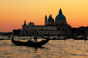 Gondola on Grand Canal at sunset