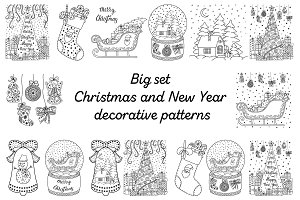 Christmas decorative patterns set