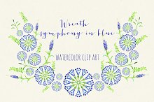 Wreath symphony in blue watercolor