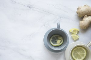 Tea lemon and ginger