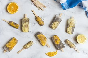 Popsicle of orange and lemon with ch