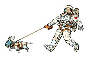 astronauts man and dog isolated on