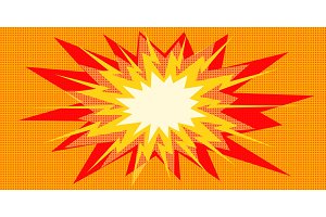 pop art explosion red yellow in the
