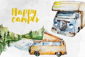 Watercolor Happy Camper Clipart