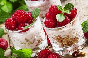 Fresh ripe raspberries with homemade