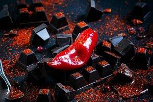 Red hot chili pepper, dark chocolate