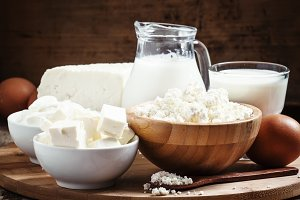 Farm organic dairy products: milk, y