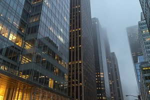 6th avenue view on a foggy day