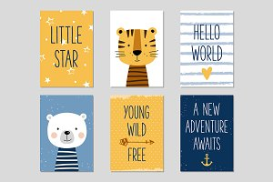 Baby cards with hand drawn animals