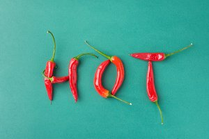 Food Lettering Typography. Peppers