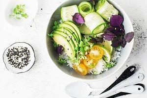 Vegetarian dinner buddha bowl