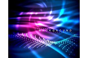 Neon glowing techno lines, hi-tech